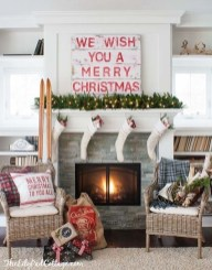 Marvelous Rustic Christmas Fireplace Mantel Decorating Ideas12