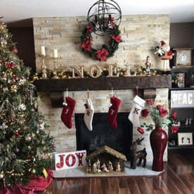 Marvelous Rustic Christmas Fireplace Mantel Decorating Ideas32
