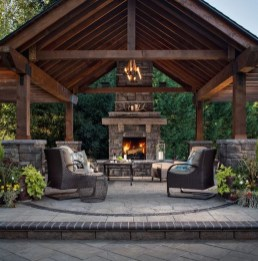 Relaxing Outdoor Fireplace Designs For Your Garden29