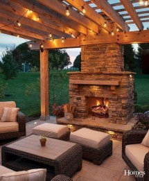 Relaxing Outdoor Fireplace Designs For Your Garden33