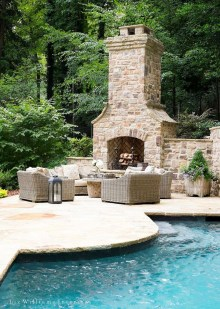 Relaxing Outdoor Fireplace Designs For Your Garden37