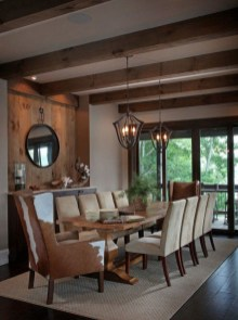 Warm Cozy Rustic Dining Room Designs For Your Cabin05
