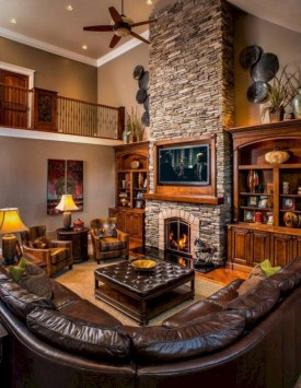 Warm Rustic Family Room Designs For The Winter26