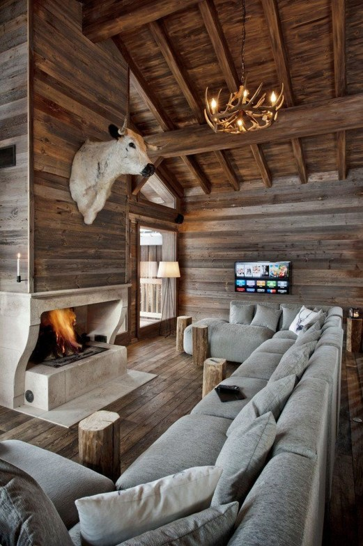 Warm Rustic Family Room Designs For The Winter37