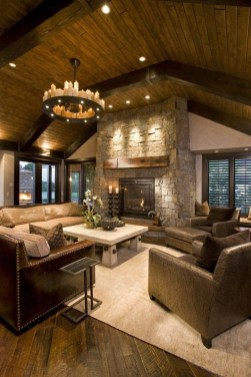Warm Rustic Family Room Designs For The Winter41