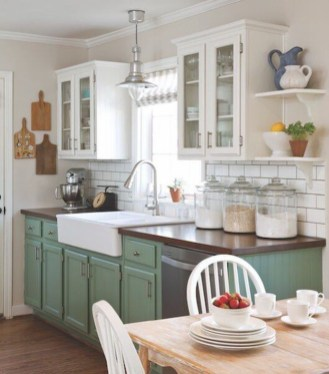Beautiful And Cozy Green Kitchen Ideas44