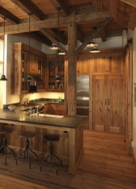Warm Cozy Rustic Kitchen Designs For Your Cabin06