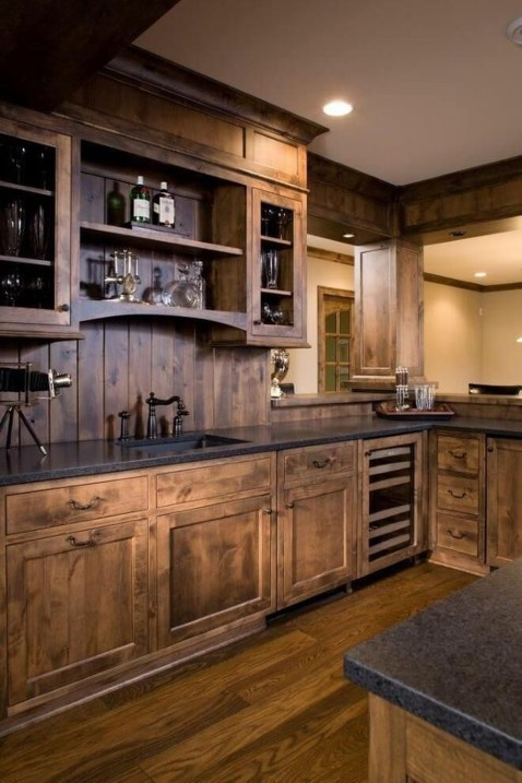 Warm Cozy Rustic Kitchen Designs For Your Cabin38