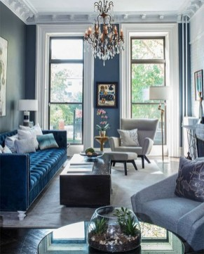Cozy And Luxury Blue Living Room Ideas07