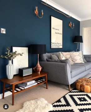 Cozy And Luxury Blue Living Room Ideas09