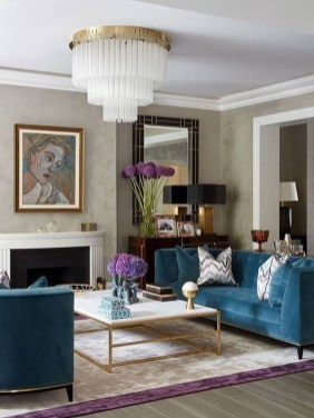 Cozy And Luxury Blue Living Room Ideas25
