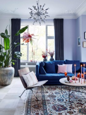 Cozy And Luxury Blue Living Room Ideas34