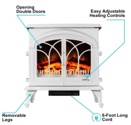 Denali Portable Freestanding Electric Fireplace Stove