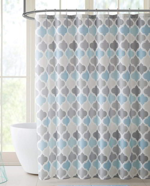 Chic D Blue & Grey Morrocan Tile Pattern Shower Curtain