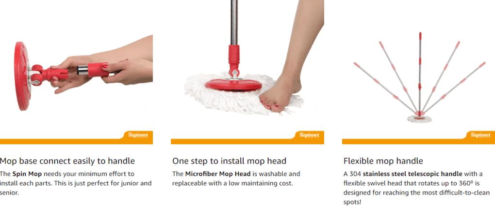 HAPINNEX Spin Mop Wringer Bucket Set
