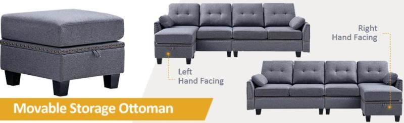honbay reversible sectional sofa couch for living room l-shape sofa couch 4-seat sofas sectional