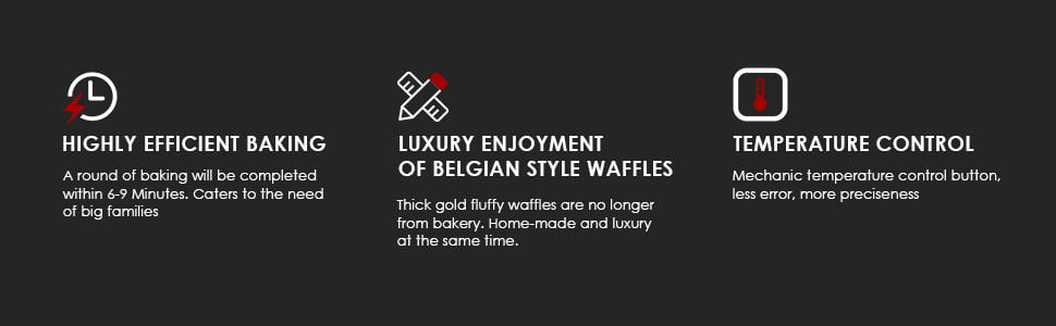 AICook Belgian Waffle Maker 3