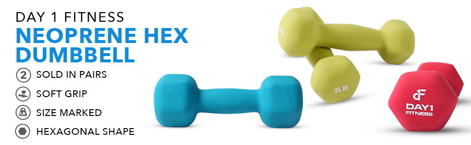 Neoprene Dumbbell Pairs by Day 1 Fitness 1