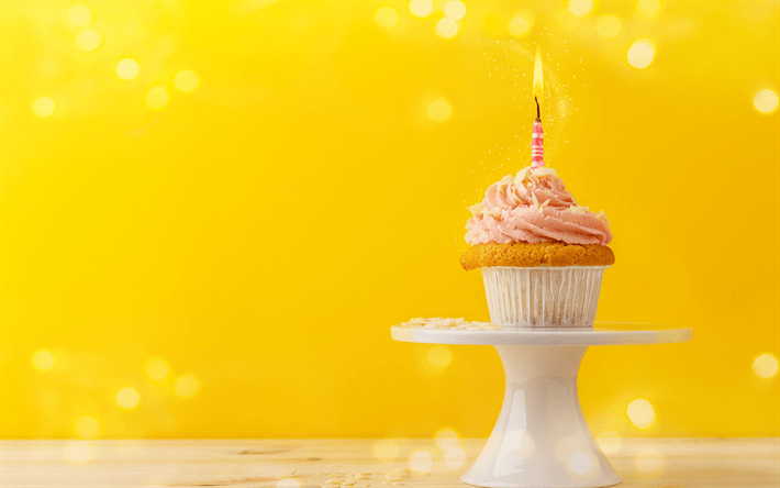 Download Wallpapers Happy Birthday Cupcake Cake Burning Candle 1 Year Concepts Sweets Cake
