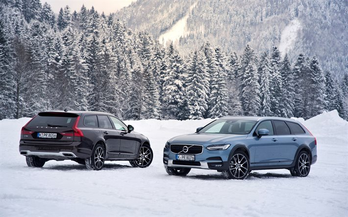 Download Wallpapers Volvo V90 Cross Country 2017 Winter