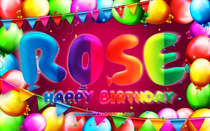 Herunterladen Hintergrundbild Happy Birthday Rose 4k Bunte Ballon Rahmen Rose Namen Lila Hintergrund Rose Happy Birthday Rose Geburtstag Beliebten Franzosischen Weiblichen Vornamen Geburtstag Konzept Fur Desktop Kostenlos Hintergrundbilder