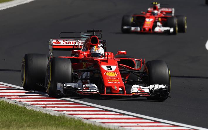 Download Wallpapers Sebastian Vettel 4k 2017 Ferrari
