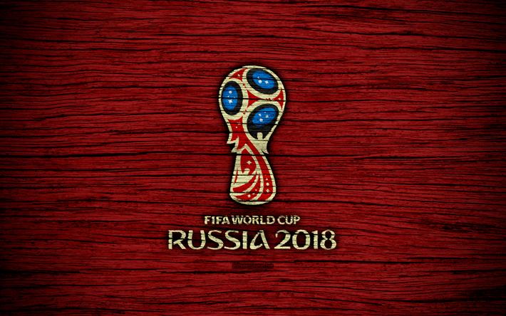 تحميل خلفيات 4k كأس العالم لكرة القدم عام 2018 نسيج خشبي شعار