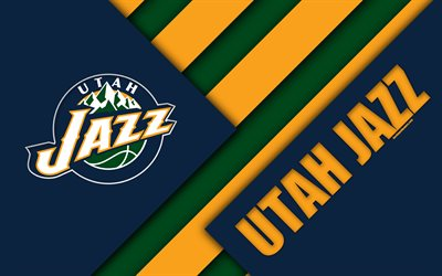 Download Wallpapers Utah Jazz 4k Logo Material Design