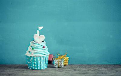 Download Wallpapers Happy Birthday Blue Cupcake Blue