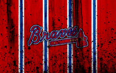 Download Wallpapers 4k Atlanta Braves Grunge Baseball