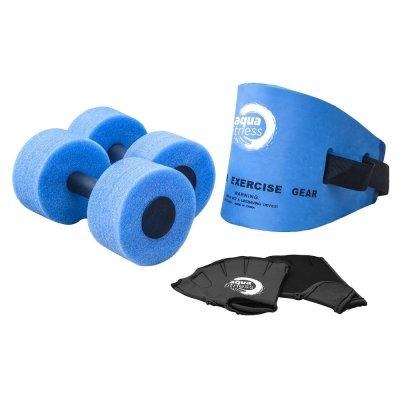 Aqua 6 Piece Fitness Set, Water Aerobics, Aquatic Low Impact Workout, Flotation Belt, Resistance Gloves, Barbells