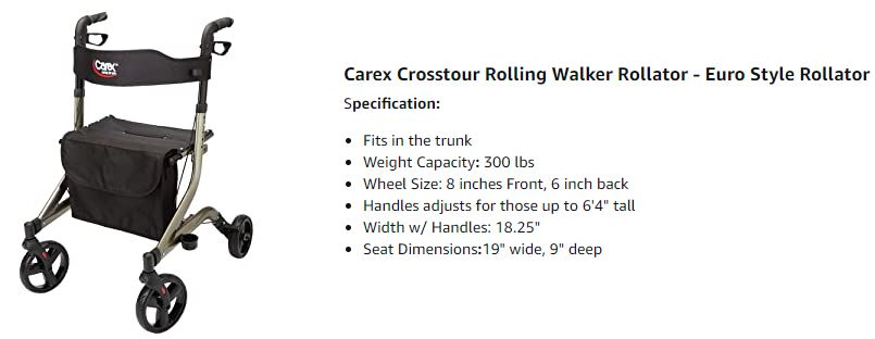 Carex Crosstour rolling walker rollator