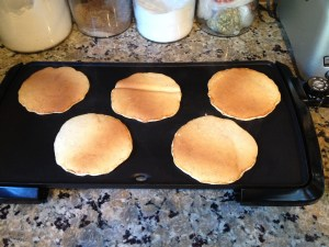 Golden pancakes - that one in the middle got folded over during the flipping step... perfection is highly overrated!