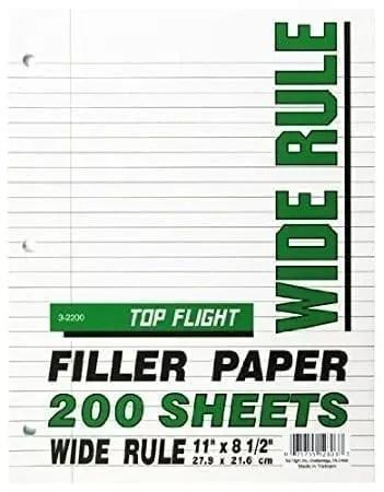 filler paper 200 ct wide rule