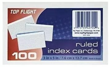 index cards 3 x 5 top flight