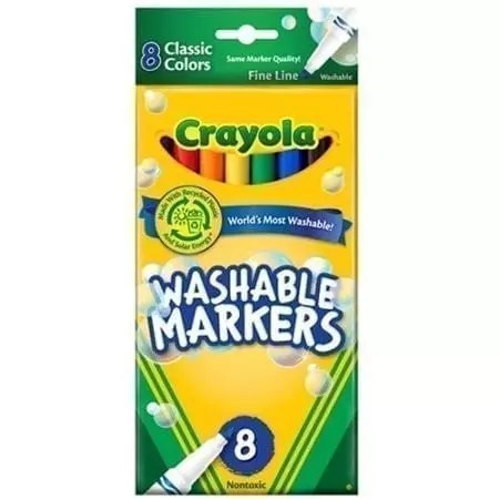 markers thin washable 8 count crayola