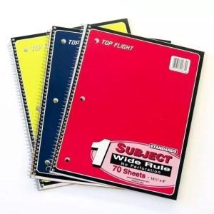 spiral notebook, wide rule, 100 count top flight