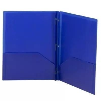 Folder, plastic, blue brads
