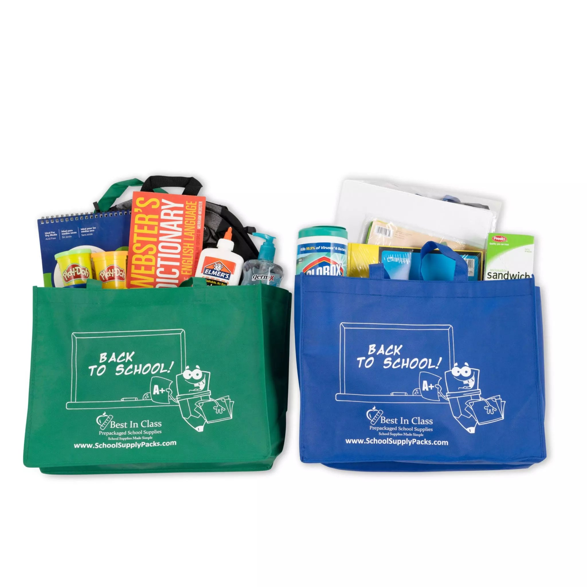 bags with supplies in them