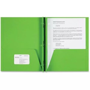 Folder paper pocket prong brad green