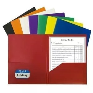 Folder plastic poly 2 pocket assorted colors