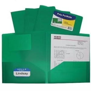 Folder plastic poly green 2 pocket