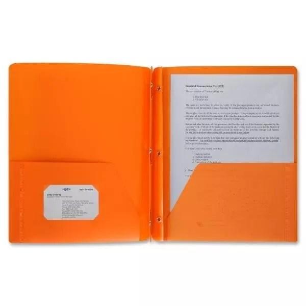 Folder 2 pocket orange with brads prongs