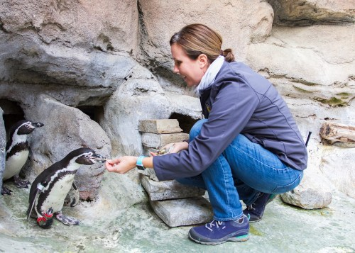 Rachel Ritchason and Lucky the Penguin