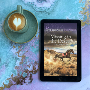 Missing in the Desert cover and latte with a heart