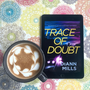 Trace of Doubt book cover and coffee with latte art