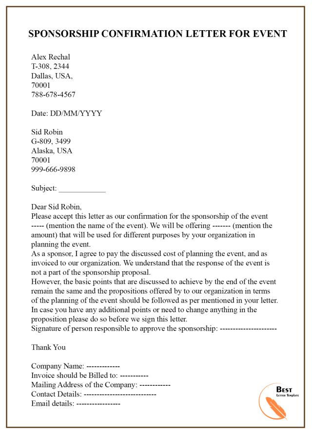 Sponsorship Letter For Event Template
