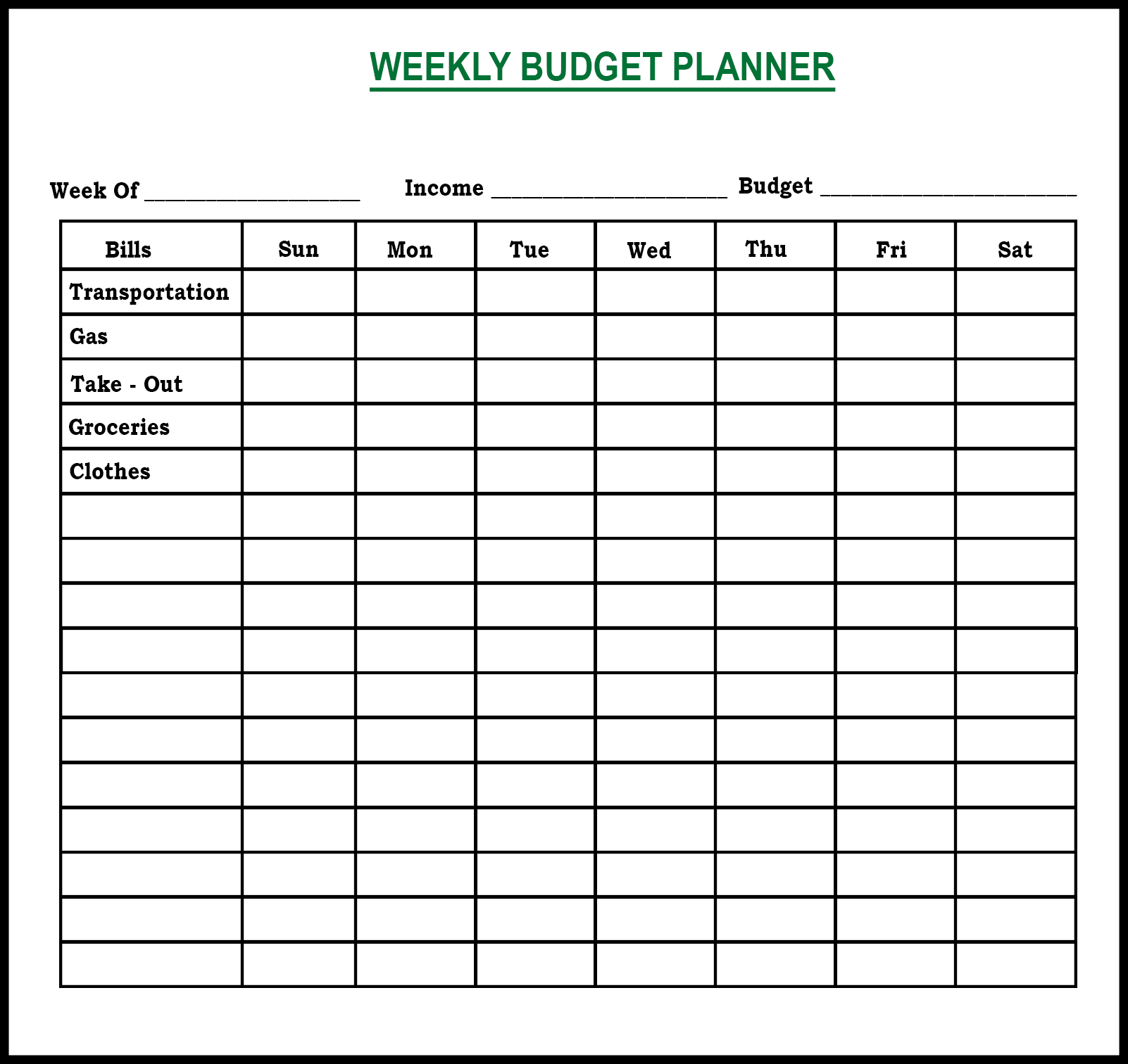Weekly Budget Planner Best Letter Template