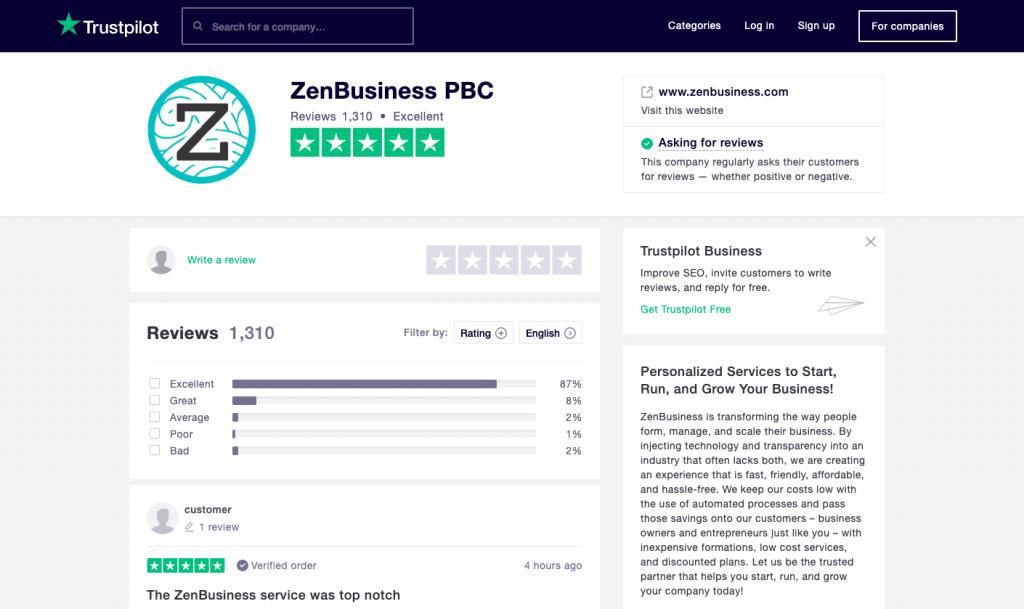 ZenBusiness Trustpilot reviews 2020