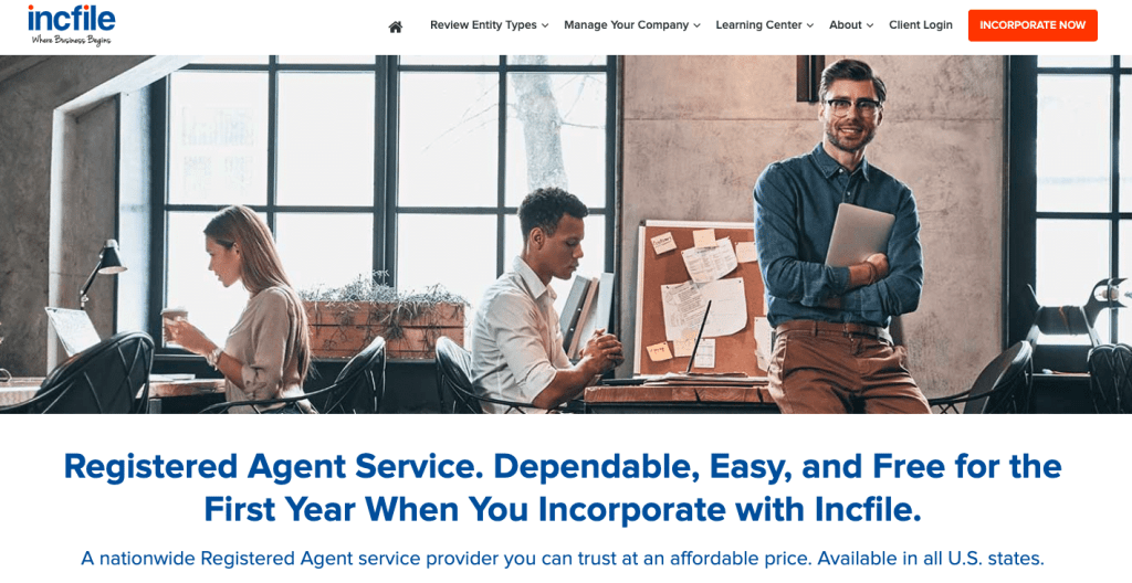 Incfile's registered agent service